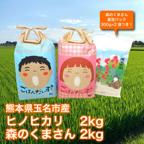 送料込【熊本県玉名市産】《元ラガーマンが作る低農薬米》ヒノヒカリ2kg 森のくまさん2kg 食べ比べセット(森のくまさん真空パック300g×2袋つき!)